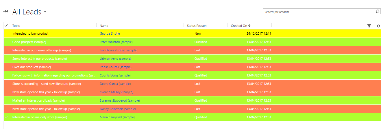 Dynamics CRM - Dynamically change row color in grid view