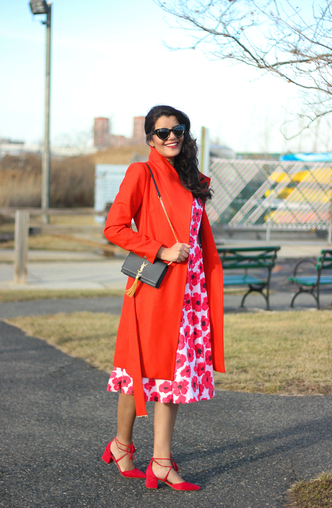 eShakti Hibiscus Print Dress,Saint Laurent Tassel Monogram Kate, Red Floral Dress, Spring Dress For Garden Party, Kate Spade Dress Lookalike, Valentine Day Dresses, Ted Baker Coat, Ted Baker Wrap Coat, Red Wrap Coat, Red Coat