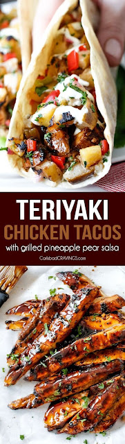 Teriyaki Chicken Tacos With Grilled Pineapple Pear Salsa