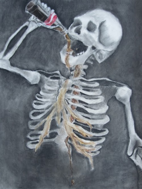 painting depicting a human skeleton drinking soda