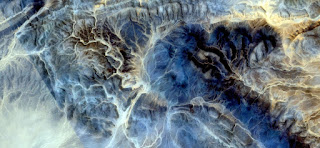 The Big Blue, mirage in the desert of Africa, abstract photography African deserts from the air, abstract expressionism,