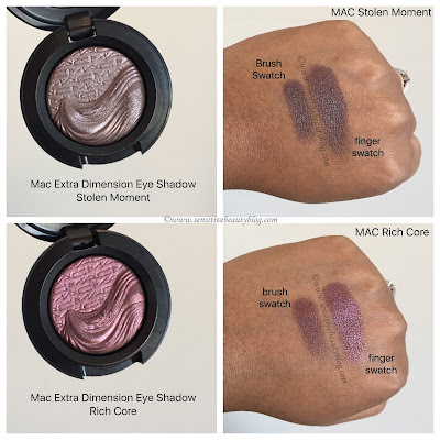 MAC Extra Dimension Eyeshadows in Stolen Moment and Rich Core Swatched