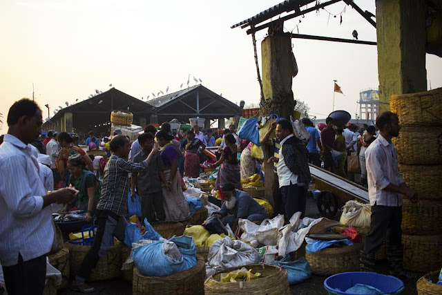 fish market, sassoon docks, mumbai, india, fishermen, traders, baskets, bags,