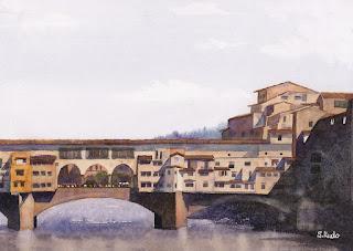 Ponte Vecchio Watercolor / 老橋 / ベッキオ橋 水彩