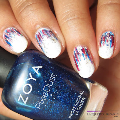 Red, white, and blue reversed waterfall manicure for the fourth of july
