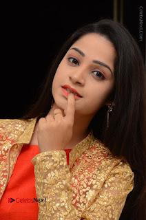 Telugu Actress Divya Nandini Stills in Orange Sleeveless Gown at Chennai Chaitrama Movie le Launch Event  0088.JPG