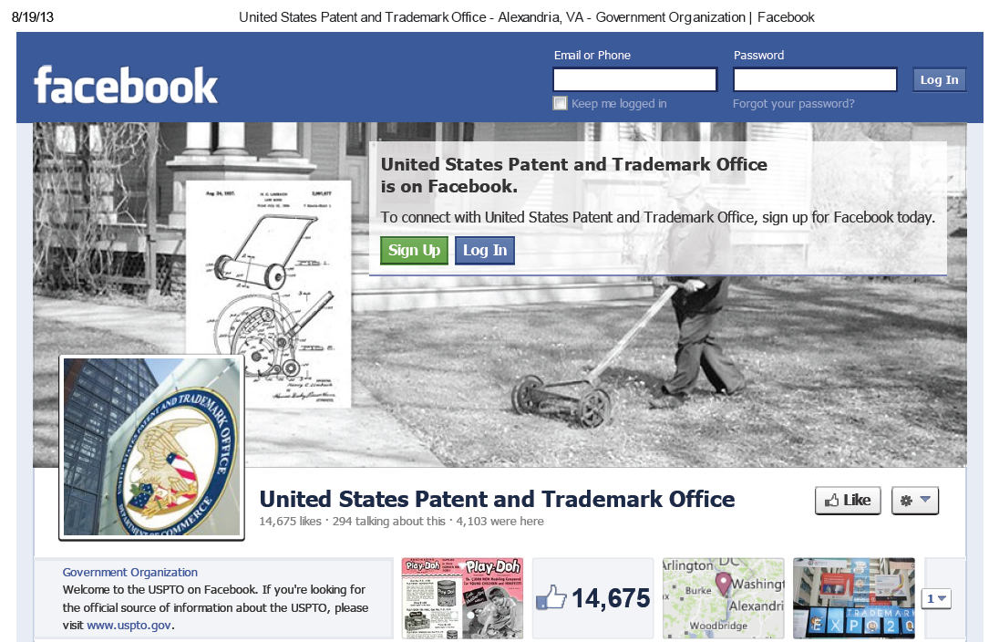 U.S. Patent Office Facebook Page, accessed Aug. 19, 2013