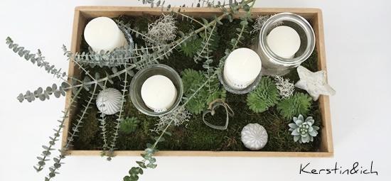 Adventskranz Deko Weihnachten Modern Advent Kerzen Moos Kiste Eukalyptus Sukkulenten DIY