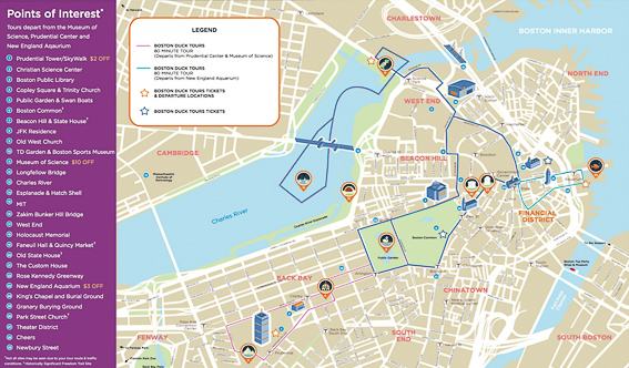 Plano del recorrido del Boston Duck Tours