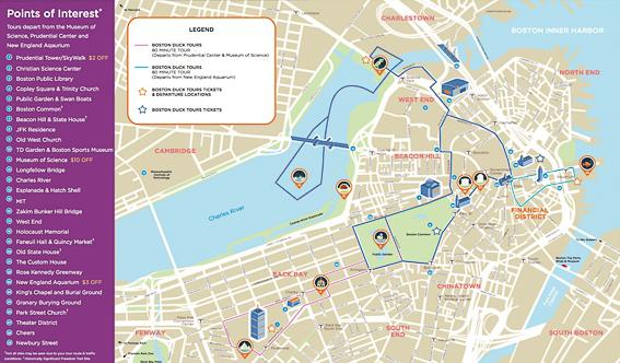 Plano del recorrido del Boston Duck Tours