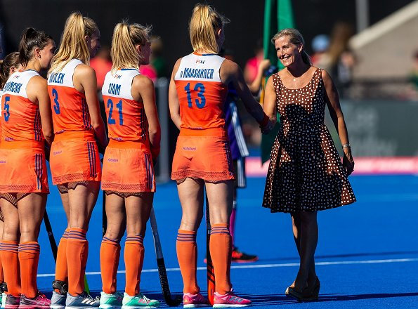 Countess Sophie of Wessex wore PRADA dot polka dress. Lady Louise Windsor at 2018 Hockey Women's World Cup final