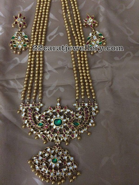 Gold Balls Set with White Kundan Patakam Pendant