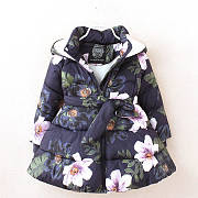 Floral Prints Hooded Zipper Outerwear