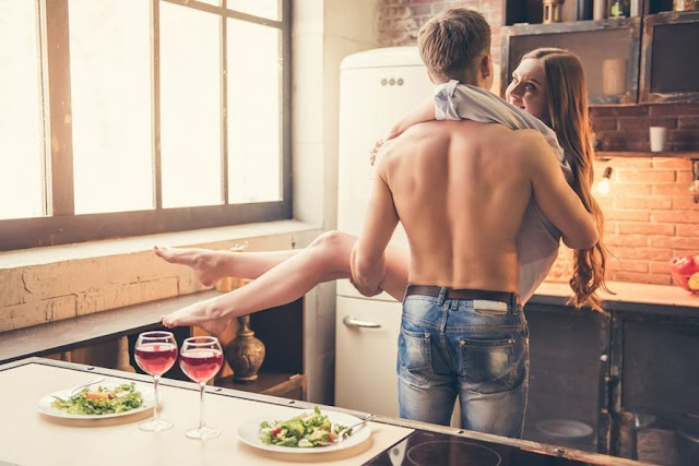 Kitchen table romantic sex