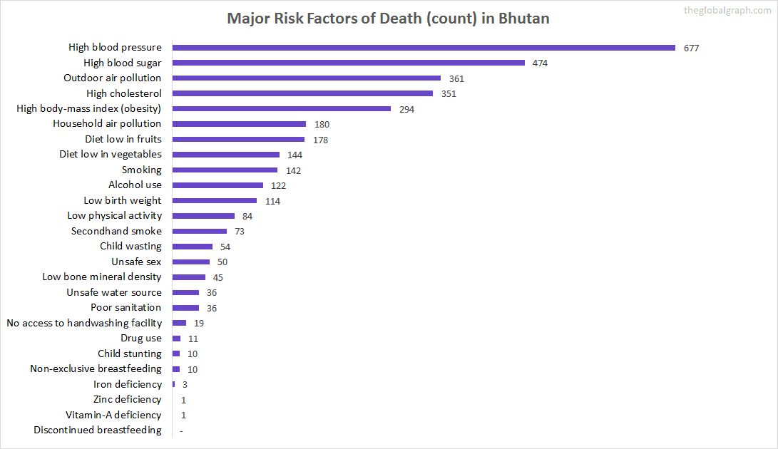 Major Cause of Deaths in Bhutan (and it's count)