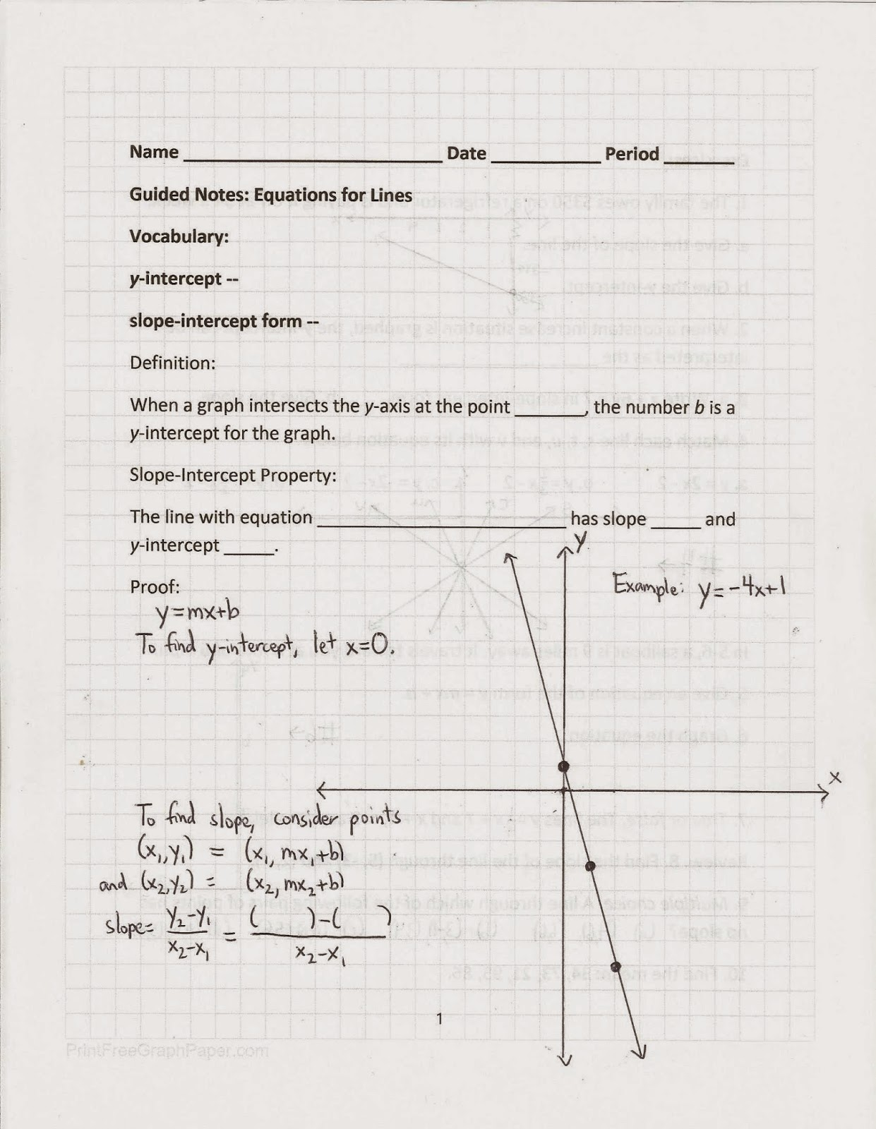 Geometry Common Core Style Equations Of Lines Day 100