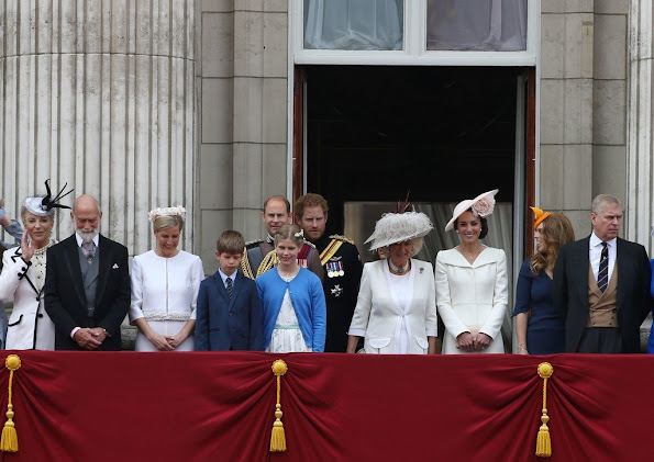 Prince Charles, Camilla, Duchess of Cornwall, Catherine, Duchess of Cambridge, Prince William, Prince George, Princess Charlotte, Prince Harry, Anne, Princess Royal, Sophie, Countess of Wessex,