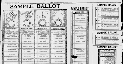 Climbing My Family Tree: Sample Ballot for November 2, 1920 printed in the Youngstown  Ohio Vindicator on November 1, 1920