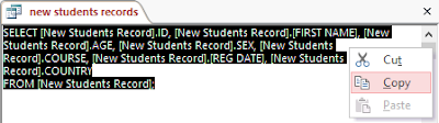 The new students record select statement