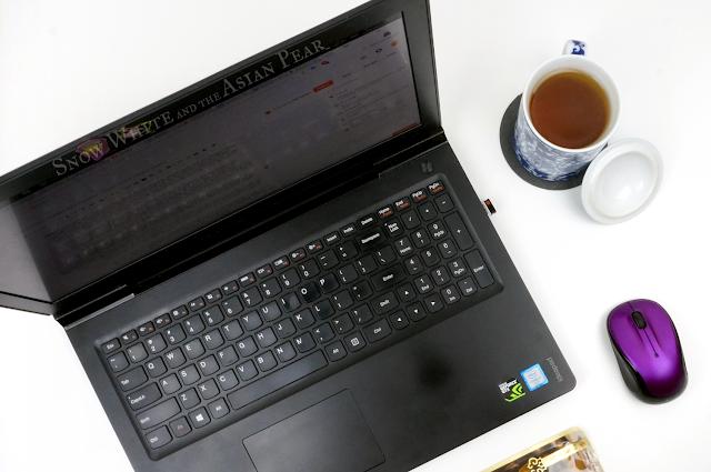 Beauty blogging tools, laptop, tea, sheet mask