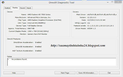 Khung DirectX Diagnostic Tool - Display
