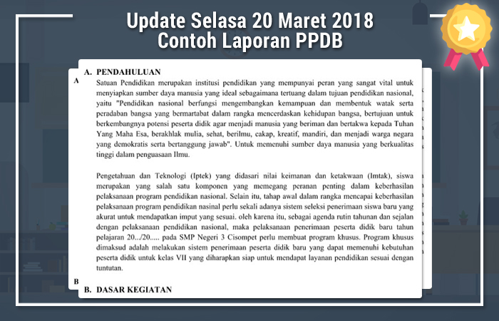 Update Selasa 20 Maret 2018 Contoh Laporan PPDB