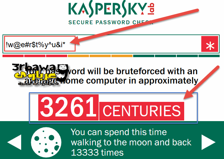 اختبر قوة كلمة المرور PassWord من موقع كاسبرسكاى kaspersky