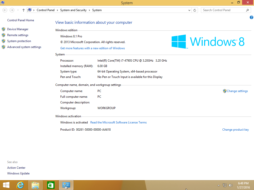 Windows 8.1 Pro 2016
