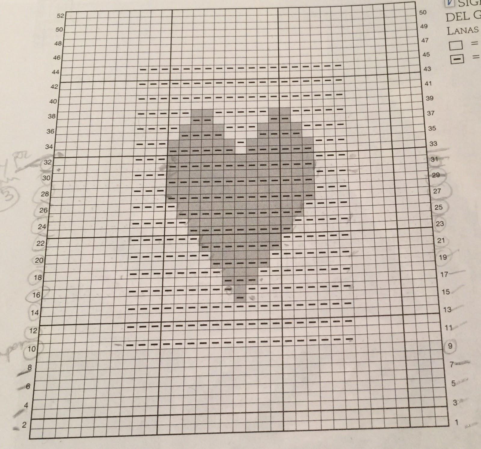 Gráfico corazón en relieve en punto a dos agujas