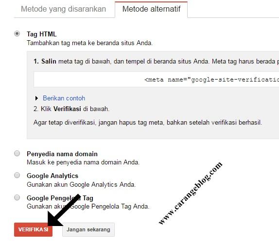 "Buka Halaman Verifikasi Google Webmaster Tools kemudian Klik ""Verifikasi"""