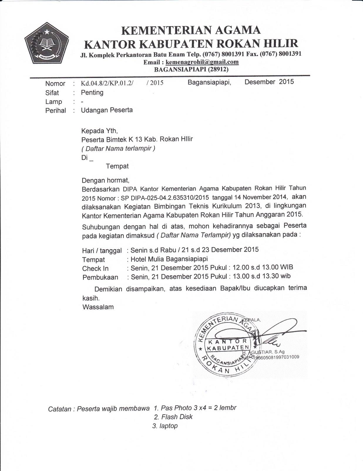 Penmad Surat Undangan Peserta Bimtek Kurikulum 2013