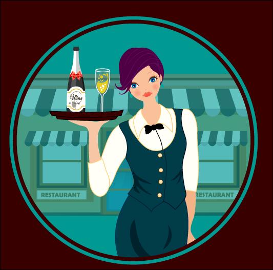 Vector e imagen normal de joven camarera con uniforme elegante