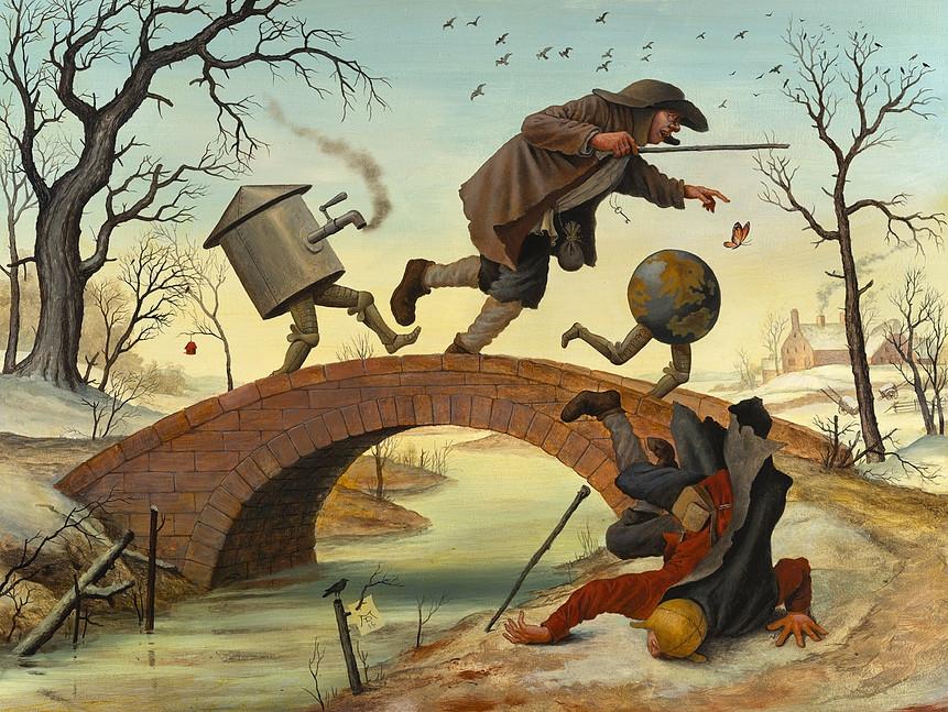 02-The-Bridge-Mike-Davis-Surreal-Paintings-that-hide-a-lot-of-Symbolism-www-designstack-co