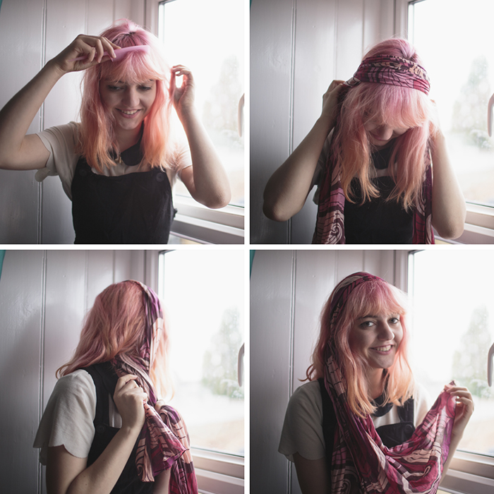 Method 6  The slightly 70 s hairband. Wrap the scarf around your head and  tie it at the back 450c6dd5f20