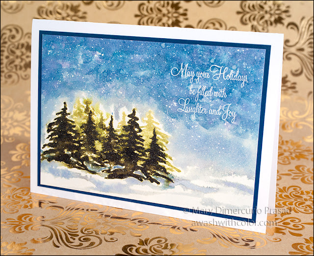 Sheer Shimmer Spritz Distress Ink Trees in Snow