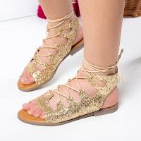 Sandale Birthe aurii cu talpa joasa