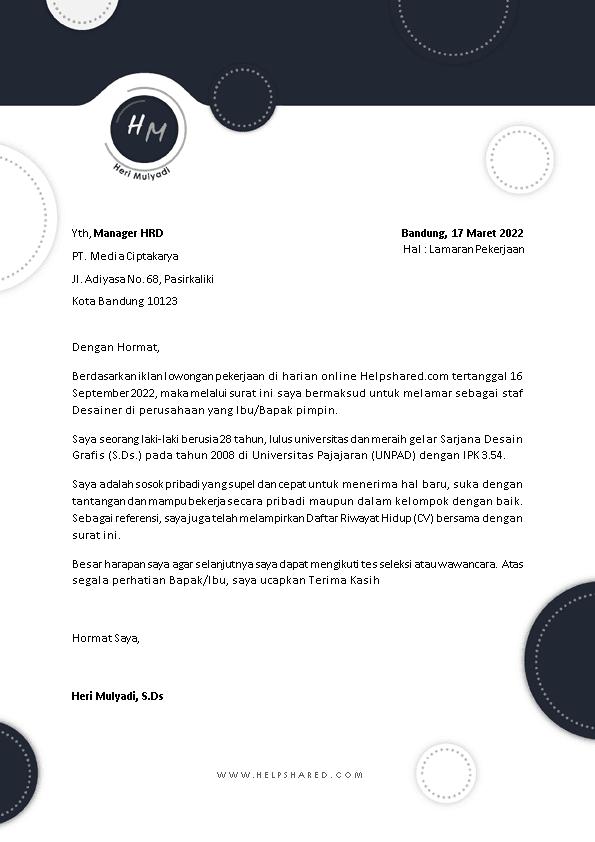 Contoh Surat Lamaran Kerja 20