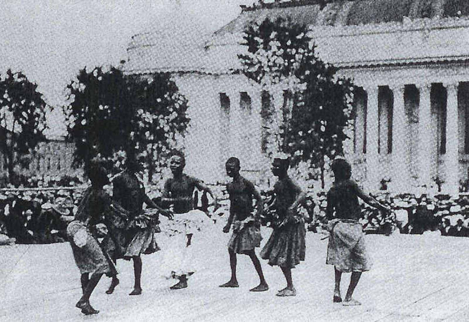 A Congolese Pygmy tribe dances at the St. Louis World Fair in 1904.