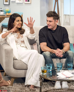Priyanka Chopra in transparent White Top skirt on Lorraine TV Show Hollywood June 2017