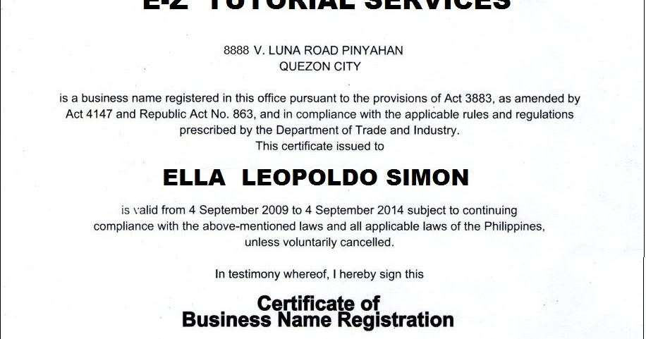 WBBBB Accounting \ Management Services DTI Business Name - certificate of compliance template