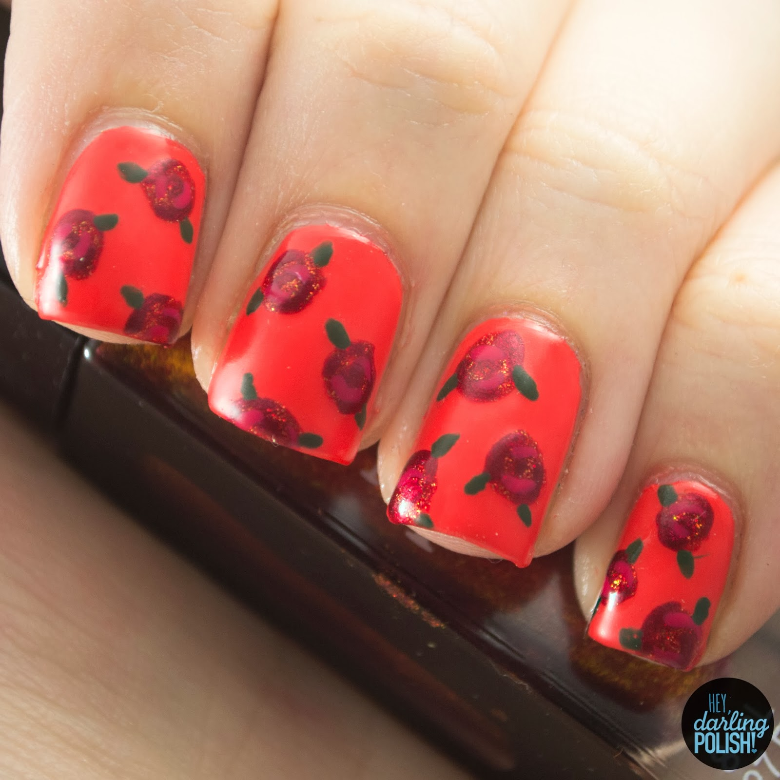 nails, nail art, nail polish, polish, flowers, roses, theme buffet, hey darling polish, red, orange