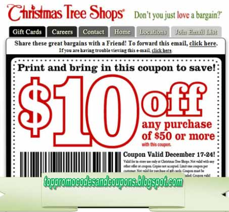 Free Promo Codes and Coupons 2018: Christmas Tree Shops Coupons