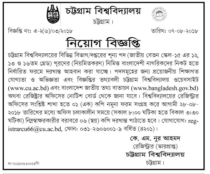 University of Chittagong (CU) Job Circular 2018