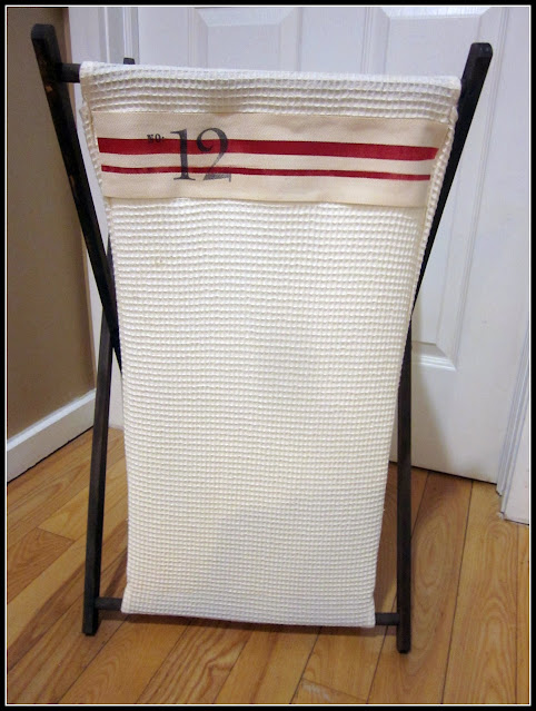 grain sack striped hamper