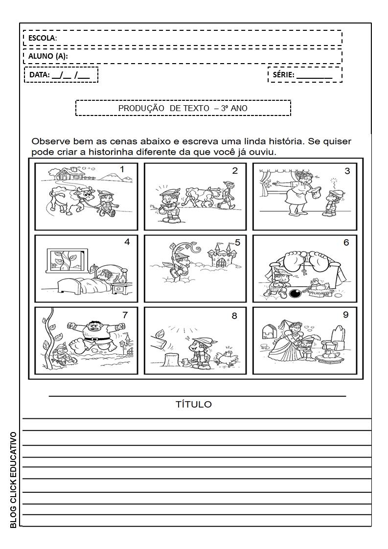 Joao E O Pe De Feijao Producao De Texto Para 3º Ano Clicks
