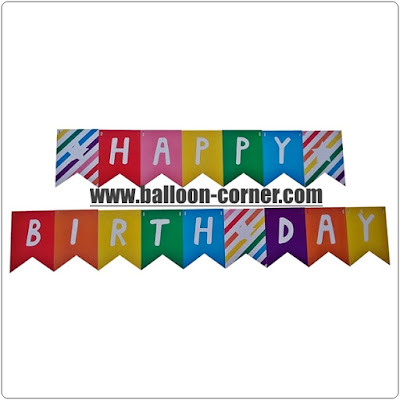 Bunting Flag Segilima HAPPY BIRTHDAY Warna Rainbow