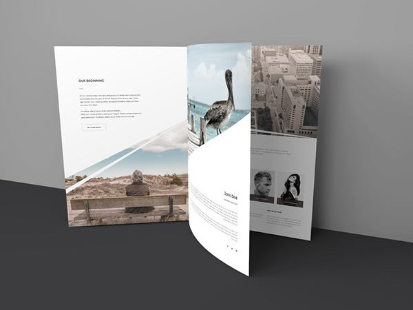 Download Gratis Mockup Majalah, Brosur, Buku, Cover - Three Page Free Brochure Mock-up
