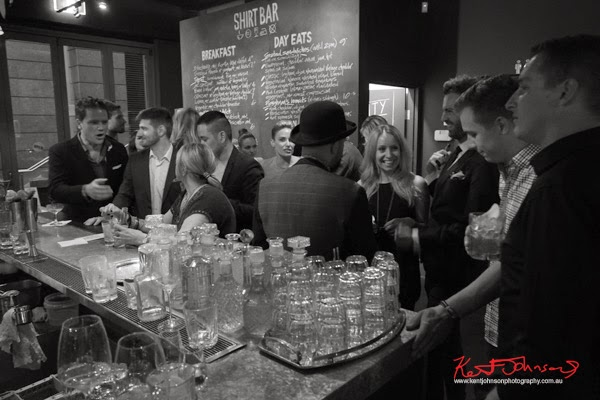 Guests at the Shirt Bar bar for the Ganton Man competion - Photography by Kent Johnson.