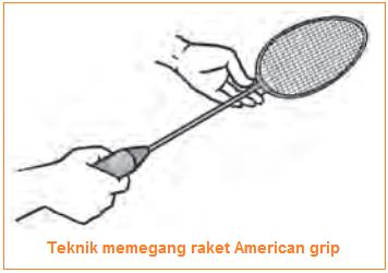 Teknik memegang raket American grip