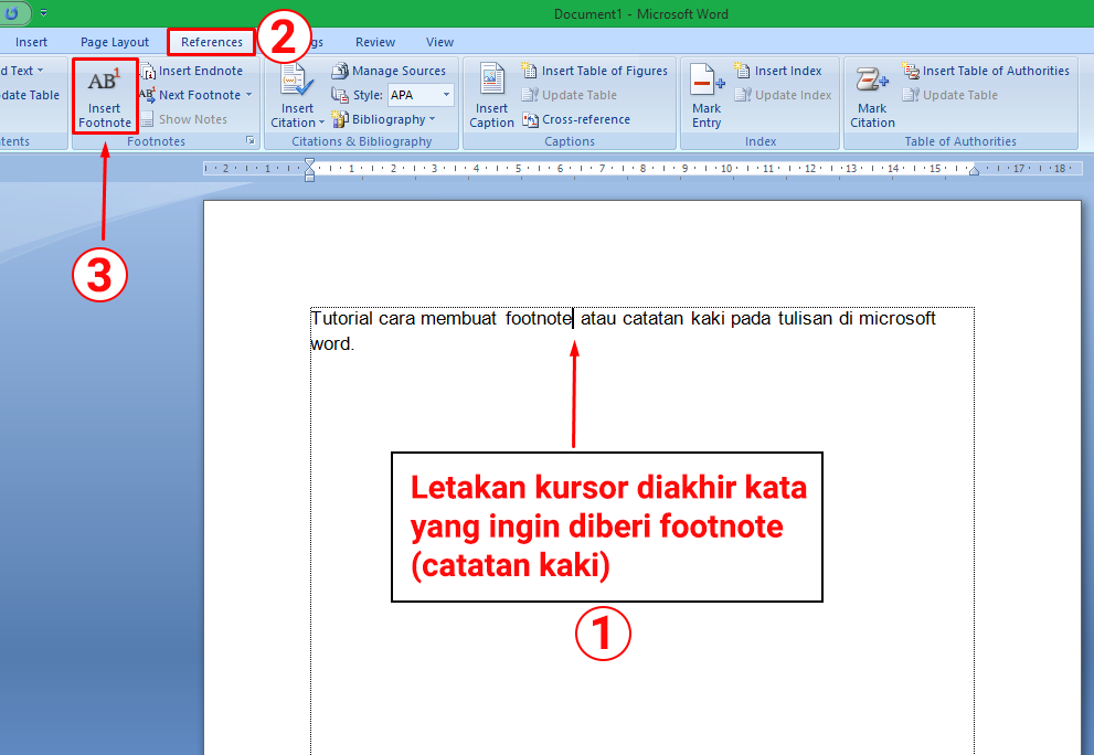 Cara Membuat Footnote Catatan Kaki Di Microsoft Word Cute766